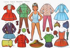Vintage Paper sheet with Cut Out DOLL+ 8 dress/trousers+ straw hat + Umbrella All Paper, Paper Art, Paper Crafts, Funky Design, Vintage Paper Dolls, Sweet Memories, Girl Cartoon, Preschool Crafts, Doll Patterns