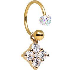 Aurora Clear CZ Gold Anodized Titanium Brilliant Flower Dangle Horseshoe | Body Candy Body Jewelry #bodycandy