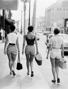 going to the beach . circa 1955