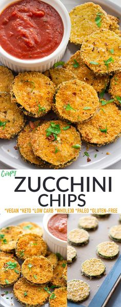 TheseZucchini Chips are crispy, delicious and easy to make in your oven or air fryer. Made with an almond flour coating, they're the perfect side dish or snack to use up your garden veggies. Kid-friendly, gluten-free, low carb, keto, dairy-free with paleo, Whole30 and vegan options.