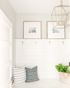 Mudroom with shiplap, mini Darlana light pendant, and art. Decor, Home Decor Inspiration, Mudroom, Block Printed Pillows, Home Decor, Photo Wall Gallery, Spring Home, House Tours, Inspiration Wall