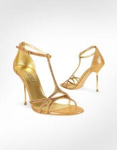 Loriblu Chaussures sandales de soirée en cuir doré et bride en T ornée de cristaux | FORZIERI, Goldeneye