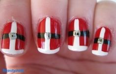 Santa nails. - Click image to find more Products Pinterest pins