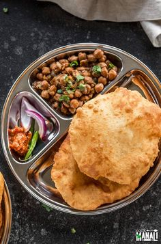 Popular puffed Indian deep fried bread bhatura is best enjoyed with chole (spiced chickpea curry). Indian Food Recipes, Vegetarian Recipes, Healthy Recipes, Ethnic Recipes, Snacks Recipes, Healthy Meals, Cooking Recipes, Indian Food Culture, Veg Thali