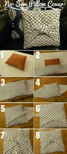 Check out the tutorial: DIY No-Sew Pillow Cover crafts decor - Easy Diy Home Decor Diy Home Decor Projects, Easy Home Decor, Handmade Home Decor, Home Crafts, Diy Crafts, Wood Projects, Sewing Pillows, Diy Pillows, Sewing Pillow Cases