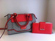 Guess multi-color coral peach tote satchel handbag purse & wallet  New!