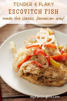 This recipe is a Caribbean staple and there's a reason why – it's absolutely delicious. Super tender and flaky red snapper is perfectly cooked and topped with a tangy vinegar sauce. The peppers and onions add an additional pop of color and slight crunch to bring the whole dish together. Easy Fish Recipes, Quick Recipes, Easy Meals, Instant Pot Pressure Cooker, Pressure Cooker Recipes, Jamaican Escovitch Fish Recipe, Red Snapper, Peppers And Onions, Air Fryer Recipes