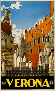 Italy Travel Inspiration - Buildings and monuments in old Verona Italy are featured in this vintage travel poster. Pizzi & Pizio Milano c. Retro Poster, Vintage Travel Posters, Poster Poster, Poster Ideas, Party Vintage, Tourism Poster, Vintage Italy, Vintage Ski, Vintage Room