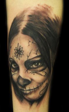 day of the dead freehand tatto by ~hatefulss on deviantART