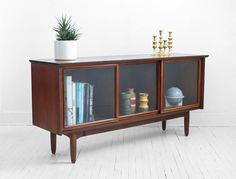 Living Room: Mid Century Glass Credenza Modern Wood Buffet Cabinet by Hindsvik 1950s Furniture, Danish Modern Furniture, Furniture Styles, Home Decor Furniture, Furniture Design, Mid Century Cabinet, Mid Century Credenza, Mid Century Dresser, Mid Century Modern Buffet