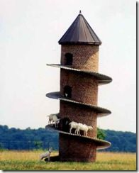 Tower built by farmer David Johnson of Illinois for his 11 Swiss mountain goats.