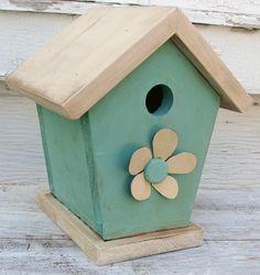 Shabby Cottage Chic Aqua Blue Birdhouse