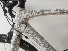 Starley Bicycle covered in surreal drawings by Ugo Gattoni