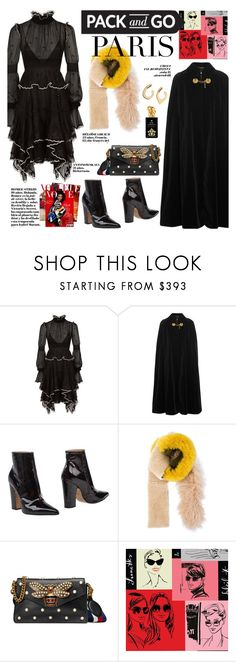 """""""How to Style a Black Dress and Cape for Winter Travel to Paris"""" by outfitsfortravel ❤ liked on Polyvore featuring Alexander McQueen, Yves Saint Laurent, Maison Margiela, Astraet, Gucci and Sisley"""