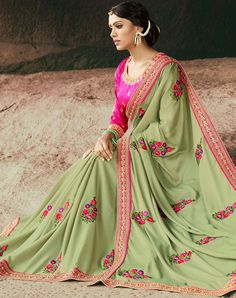 Marvelous Moss Georgette Saree Indian Sari Click VISIT link above for more options Indian Designer Sarees, Latest Designer Sarees, Indian Sarees, Latest Sarees, Silk Saree Blouse Designs, Bridal Blouse Designs, Dress Designs, Indian Attire, Indian Outfits