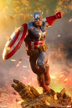 Captain America Premium Format Figure | Sideshow Collectibles Sideshow Statues, Sideshow Toys, Sideshow Collectibles, Dynamic Action, Red Gloves, Marvel Captain America, Classic Comics, Action Poses, Kids