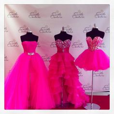 We are pretty in pink here at Castle Couture Prom! The 1st dress on the left is Sherri Hill Prom and Pageant Wear style 21139 and it is a short dress with a detachable over skirt! Come check our pink selection!