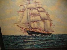 """LARGE VINTAGE LITHO On Canvas Clipper Ship 24 1/2"""" X 30"""""""