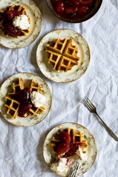 buttermilk waffles with sweet summer plums | a thousand threads.