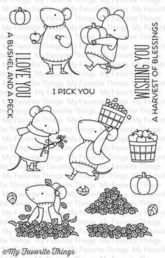 "MY FAVORITE THINGS: Harvest Mouse Stamp Set (4"" x 6"" Clear Photopolymer Stamp Set) This 16 piece set includes Harvest Mouse: Apple mouse 1-¼"" x 2-5/8"", Pumpkin mouse 1-1/8"" x 1-5/8"", Flower mouse 1-½"""