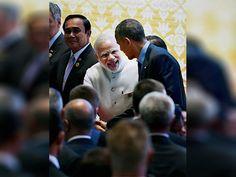 Prime Minister Narendra Modi and US President Barack Obama greet each other