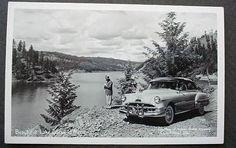 Coeur d'Alene Idaho Lake & Pontiac Car 1951 Postcard