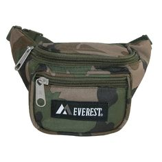 The Woodland camouflage print makes this pack fun and functional, use while camping, hunting, hiking or everyday. This small fanny pack is made from strong Denier Polyester making it a durable hands free accessory for everyone. Ideal for holding house keys, cell phone or medication inside the two zipper compartments.