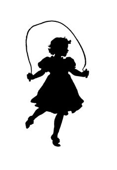 Antique Images: Vintage Victorian Clip Art: Black and White Illustration and Silhouette of Girls Skipping Rope