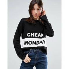 Cheap Monday Coach Sweatshirt (61 CAD) ❤ liked on Polyvore featuring tops, hoodies, sweatshirts, black, crew top, crewneck sweatshirt, crew neck top, jersey top and crew-neck sweatshirts