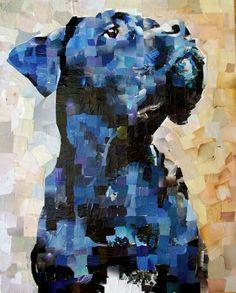 "Blue Dog. Collage on Canvas. 24 x 30"". Artist: Samuel Price www.mydogcollage.com"