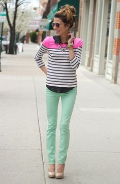 Pop of pink- I like it for a new look for my mint capris!