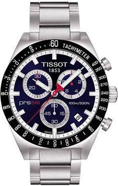 Tissot Men's T0444172104100 PRS516 Blue Chronograph Dial Watch Tissot. $390.63. Quartz movement. Stainless steel bracelet. Blue dial. Stainless steel case. Water-resistant to 100 M (330 feet). Save 29%!