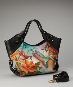 Anuschka hand painted bags #bags #handpainted #painted #handbag #fashion #floral #bird