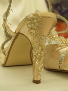 Wedding Shoes Gold Champagne - high heels Bridal Shoes - bridal shoes champagne