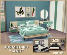 Tanit bedroom by Mary Jiménez from for The Sims 4 Cheap Home Furniture, Mint Furniture, Sims 4 Cc Furniture, The Sims, Sims Cc, Sims 4 Bedroom, Bedroom Sets, Sims 4 Mods, Muebles Sims 4 Cc