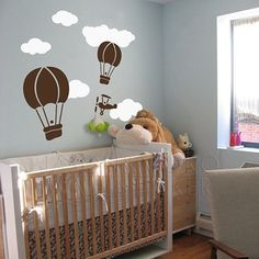 Cute Hot Air Balloon Wall Sticker Creative Balloon Clouds Baby Nursery Wall Decals DIY Vinyl Sticker For Kids Room Free Shipping