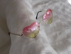 DISCOUNTED Hand Designed Swarovski Heart Shaped Sunglasses, Gold Metal Frames,Clear Crystals, Pink to Light Green Lensens, Sweet and Sparkly by jamaartbeads. Explore more products on http://jamaartbeads.etsy.com