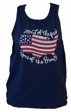 Southern Couture Land of the Free USA Flag American Aztec Navy Girlie Bright Tank Top. I  This is on a Comfort Colors Navy Tank. These are unisex sized and run a little big. Great on a hot summer day and also make a great swim cover up. Show your patriotic spirit in this great country that we live in.  This tank is only available here. No longer available through the Couture Tee Co so get it while supplies last. If you select monogram I will monogram it on the left hip. Just select on of the…