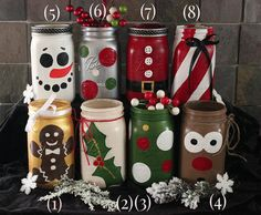 Christmas Winter Holiday Painted Mason Jar Luminaries / Vases / Holiday…