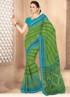 Charismatic green cotton saree