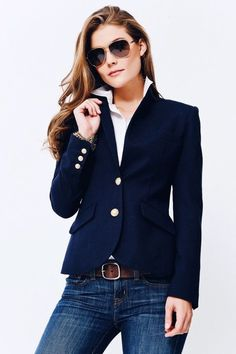 Two Penny Blue navy blazer. - Yes this is the perfect cut for a classic blue blazer. Fashion Mode, Work Fashion, Fashion Looks, Emo Fashion, Classic Fashion Outfits, Lolita Fashion, Fashion Pants, Womens Fashion, Fashion Dresses
