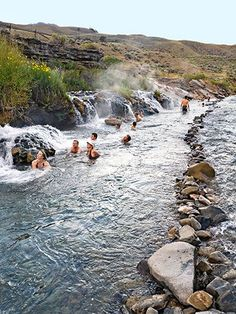 Boiling River, Yellowstone National Park Wyoming fun place to hike to and enjoy a natural hot spring mixed in the cool water!