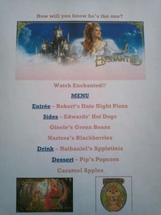 Disney Family Movie Night Menu - Enchanted