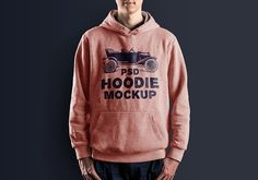 Male hoodie mockup PSD to showcase your clothing line branding and logo identity in a realistic manner. The PSD file comes with editable smart layer.