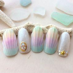 Make an original manicure for Valentine's Day - My Nails Cute Nails, Pretty Nails, Seashell Nails, Sea Nails, Manicure, Kawaii Nails, Mermaid Nails, Japanese Nails, Halloween Nail Art