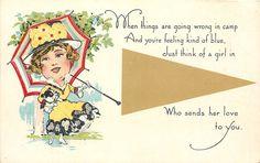 Valentine~Pennant Card~Lady Holds Bulldog Under Umbrella~A Girl in ?? Sends Love