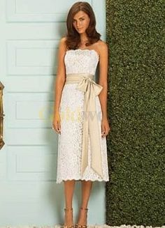 [US$163.99] White Strapless Sash Satin Lace Bridesmaid Dress