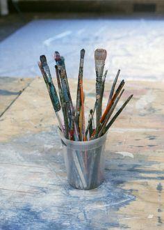 Brushes, Ethan Cook & Landon Metz's Studio, New York, 2012 Color Themes, Handicraft, Barware, Brushes, Lake Side, Cook, Studio, Affair, Lens