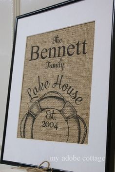 Free US Shipping...Personalized Lake House Burlap Print...great housewarming gift by MyAdobeCottage on Etsy https://www.etsy.com/listing/123139209/free-us-shippingpersonalized-lake-house