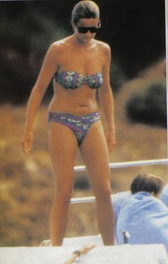 August 11, 1991: Princess Diana on the deck of a yacht in the Tyrrhenian Sea near the Cape of Coda Cavallo in Sardinia.